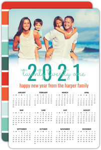 Turquoise Wonderland Wishes Calendar New Years Card