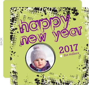 Rock n Roll Green and Black Happy New Year Grunge Card