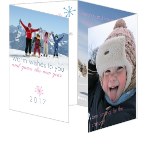 Winter Wonderland New Years Quad Fold Photo Card