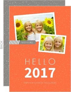 Gray and Orange Hello New Years Card