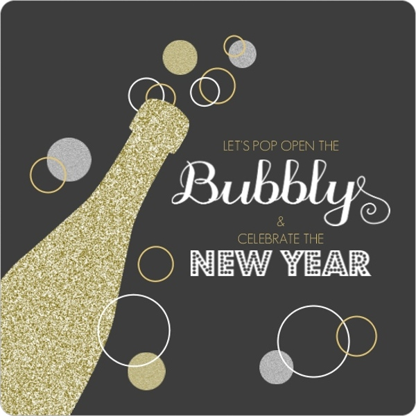Gold Glitter Champagne Bubbly New Years Invitation | New ...