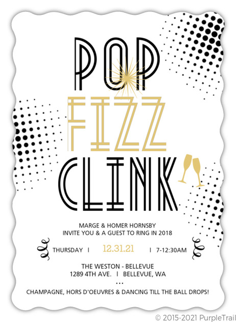Pop Fizz Clink Vintage New Years Party Invite