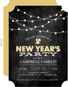 Festive Gold Lights New Years Invitation
