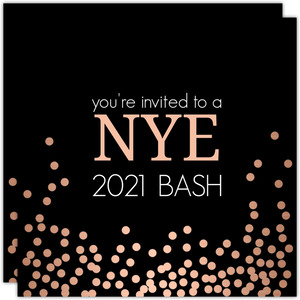 Rose Gold Confetti New Years Invitation