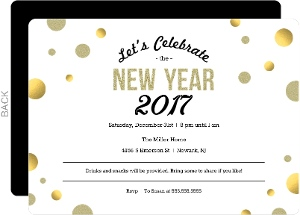 Gold Polka Dot New Years Invitation