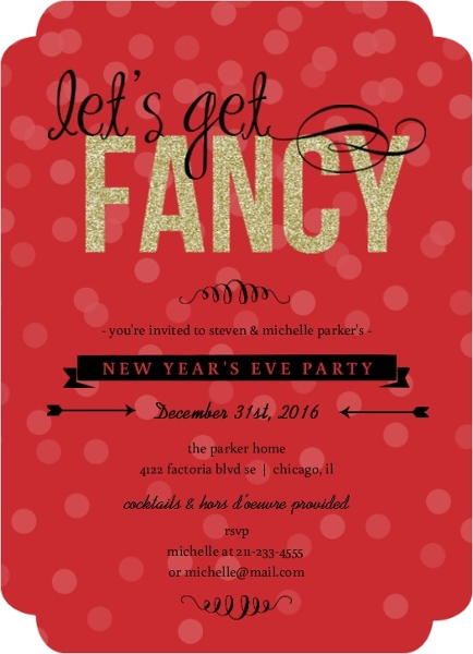 Festive and Fancy New Year s Party Invitation