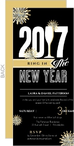 Black and Gold Fireworks New Year's Party Invitation