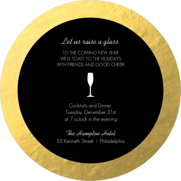 Black and Gold Foil Cocktail Glass New Years Invitation
