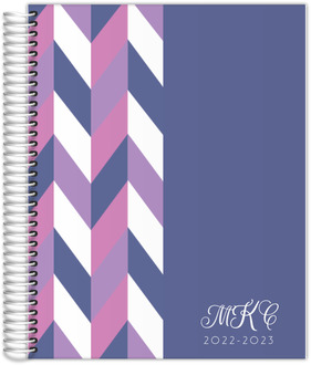 Purple Chevron Monogram Student Planner