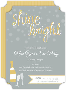 Shine Bright Gold and Gray  set  New Years Party Invitation