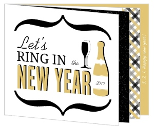 Black and Gold Modern New Years Invite