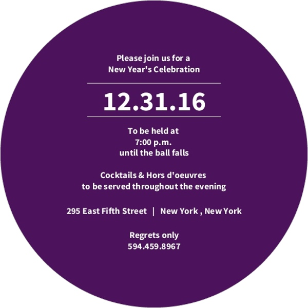 Purple Countdown New Years Party Invitation