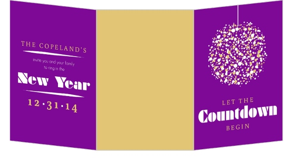 Purple and Gold New Years Invitation