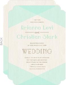 Mint & Rustic Woodgrain Wedding Invitation