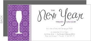 Purple and White New Years Party Invitation