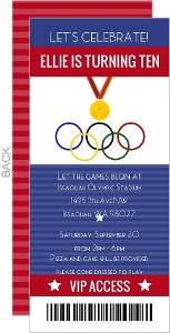 Olympic Ticket Birthday Party Invitation