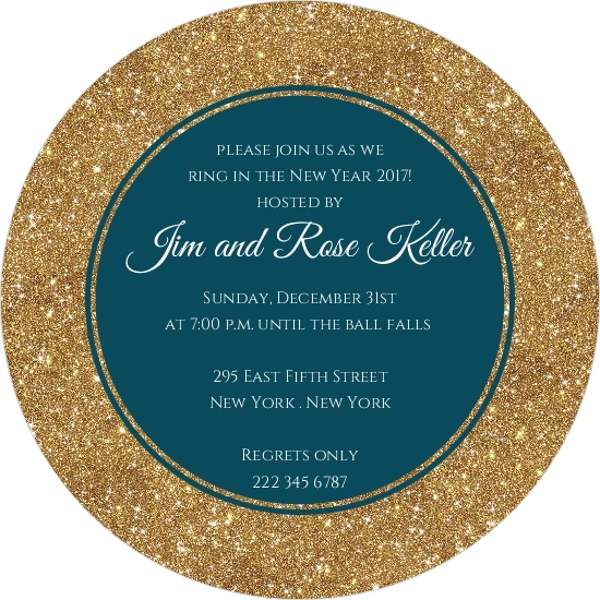 Floral Teal New Years Party Invitation