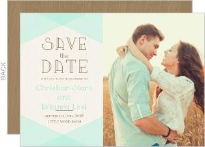 Mint & Rustic Woodgrain Save The Date Card