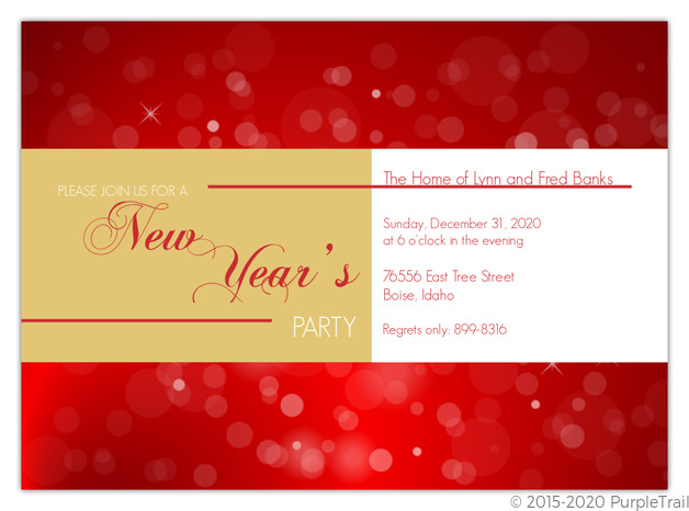 Red and Gold New Years Party Invitation