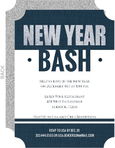 Denim Stripes New Years Party Invitations