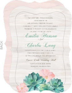 Whimsical Watercolor Succulents Wedding Invitation