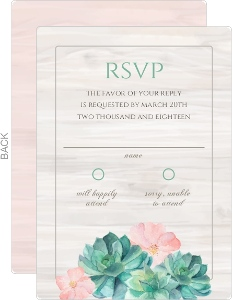 Whimsical Watercolor Succulents Wedding Response Card