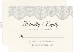 Lace And Gray Wedding Response Card
