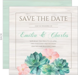 Whimsical Watercolor Succulents Save The Date Card