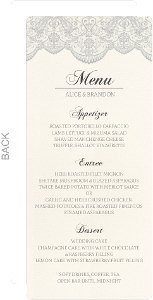 Lace And Gray Wedding Menu Card