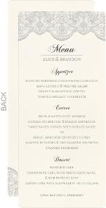 Lace And Gray Wedding Menu Card