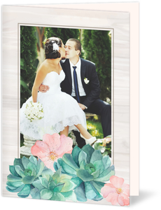 Whimsical Watercolor Succulents Wedding Thank You Card