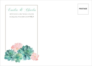 Whimsical Watercolor Succulents Custom Envelope