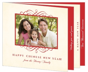 Red and Cream Chinese New Year Photo Card