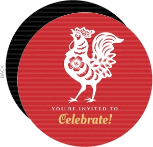Red Dramatic Rooster Chinese New Year Invitation