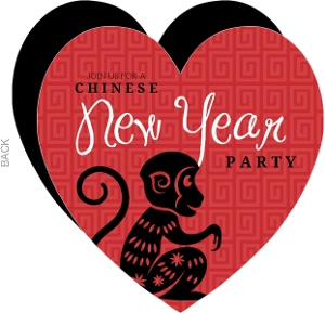 Red Heart Chinese New Year Party Invite