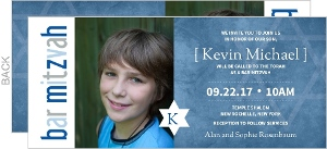 Blue Grunge Star Bar Mitzvah Invitaiton
