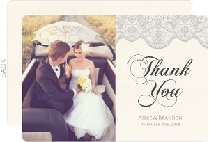 Lace And Gray Wedding Thank You Card