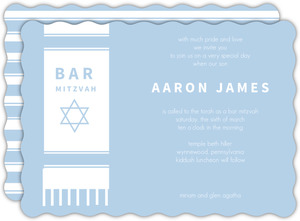 Blue and white Tallit Bar Mitzvah Invitation