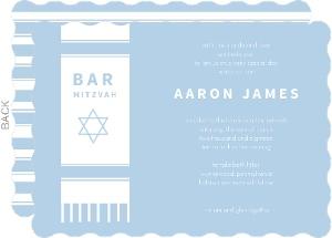 Blue and white Tallit Bar Mitzvah Invitation