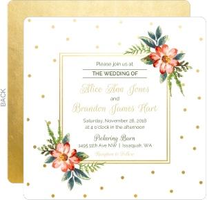 Gold Polka Dot Wedding Invitation