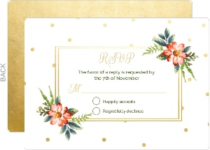 Gold Polka Dot Wedding Response Card