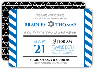 Modern Type and Star of David Bar Mitzvah Invitation