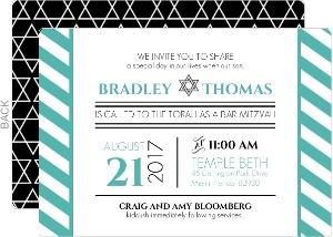 Turquoise and Black Stripes Bar Mitzvah Invitation
