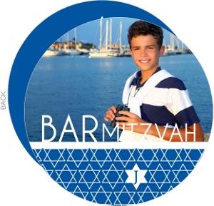 Blue Star of David Pattern Bar Mitzvah Invitation