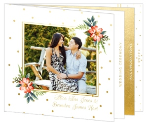 Faux Gold Polka Dot Booklet Wedding Invitation