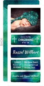 Blue And Teal Watercolor Mark Christening Invitation