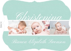 Simple Mint Burlap Christening Photo Invitation