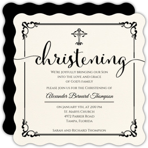 Elegant Black Frame Christening Invitation