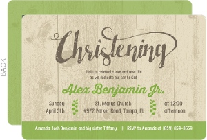 Rustic Wood And Leaf Christening Invitation