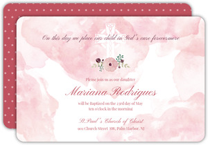 Blush Watercolor Flower Baptism Invitation